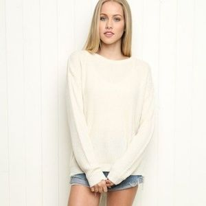 Brandy Melville Ollie Knit Pullover Sweater Cream